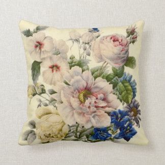 Vintage Botanical Bouquet of Mixed Flowers Throw Pillow