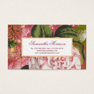 Vintage Botanical Camellia Floral Collage Business Card