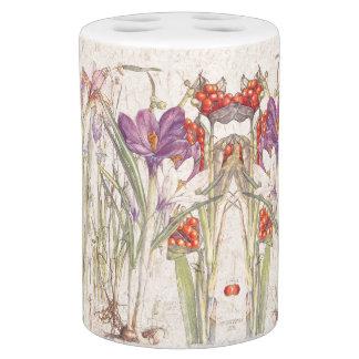 Vintage Botanical Crocus Iris Flowers Bath Set