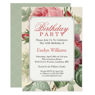 Vintage Botanical Floral Adult Birthday Party Invitation