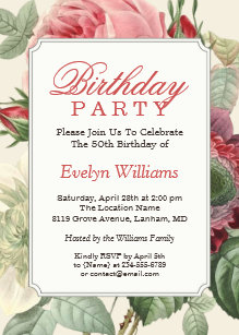 Vintage Botanical Floral Adult Birthday Party Invitation