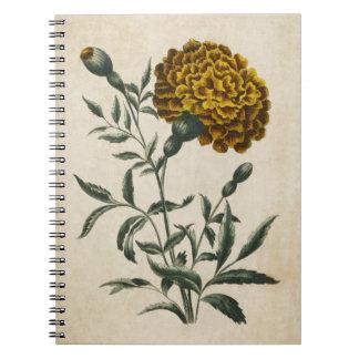 Vintage Botanical Floral African Marigold Spiral Notebook