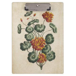 Vintage Botanical Floral Double Cresses Clipboard