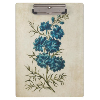 Vintage Botanical Floral Double Larkspur Clipboard