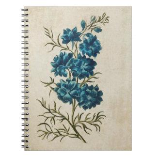 Vintage Botanical Floral Double Larkspur Notebooks