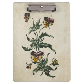 Vintage Botanical Floral Hearts Ease Illustration Clipboard