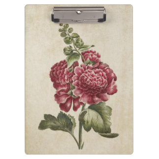 Vintage Botanical Floral Hollyhock Illustration Clipboard