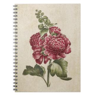 Vintage Botanical Floral Hollyhock Illustration Notebook