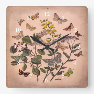 Vintage Botanical Floral Illustration Wildflowers Wall Clocks