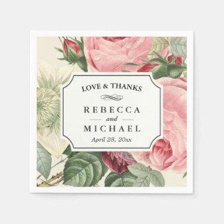 Vintage Botanical Floral Love and Thanks Wedding Disposable Serviettes