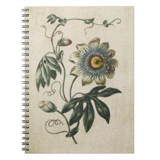 Vintage Botanical Floral Passion Flower Notebook