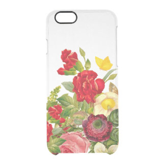 Vintage Botanical Floral Rose Clear Clear iPhone 6/6S Case