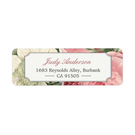 Vintage Botanical Garden Flowers Elegant Classy Return Address Label