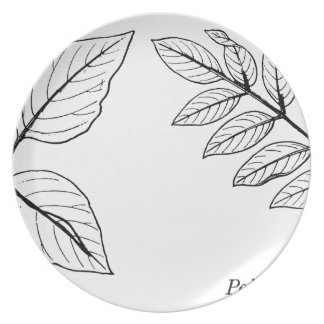 Vintage Botanical Leaves Plate