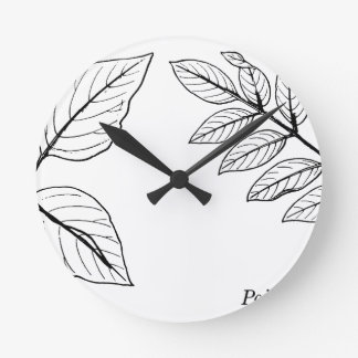 Vintage Botanical Leaves Round Clock