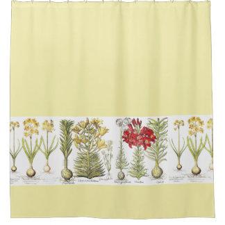 Vintage Botanical Lily Narcissus Flowers Floral Shower Curtain