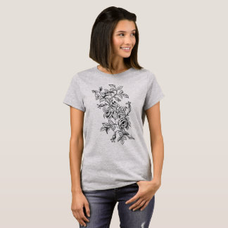 Vintage Botanical Line Art Drawing of Roses T-Shirt