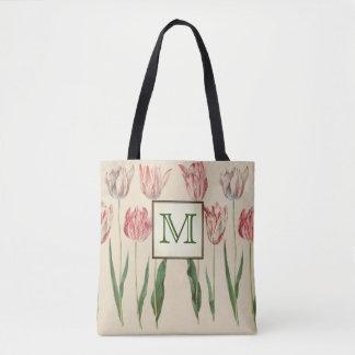 Vintage Botanical Monogram Tote Bag