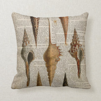vintage botanical ocean beach sea shells cushion