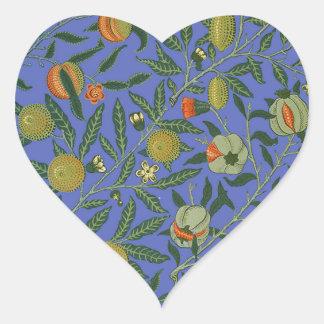 Vintage Botanical Pomegranate Pattern Wallpaper Heart Sticker