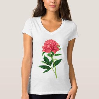 Vintage Botanical Print, Coral Pink Peony T-Shirt