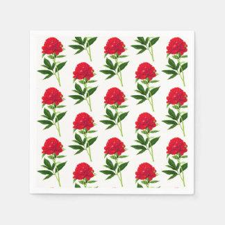 Vintage Botanical Print, Deep Red Peony Disposable Napkins