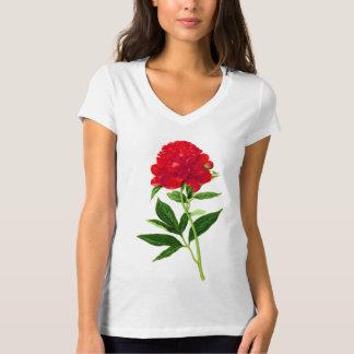 Vintage Botanical Print, Deep Red Peony T-Shirt