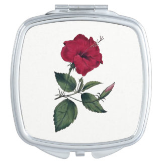 Vintage Botanical Style Deep Red Hibiscus Blossom Mirror For Makeup
