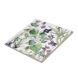 Vintage Botanical Violet Wildflower Flowers Tile