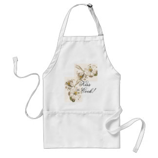 Vintage Botanical White Flowers Kiss/Cook Apron