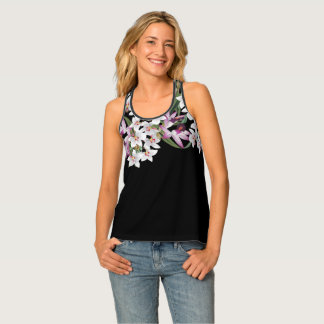 Vintage Botanical White Orchid Flowers Tank Top