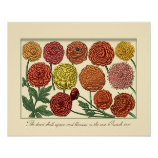 Vintage Botanical with Isaiah Scripture Verse Poster