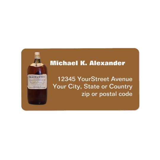 Vintage Bottle Scotch Whiskey Address Label