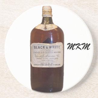 Vintage Bottle Scotch Whiskey Monogram Drink Coasters