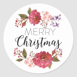 Vintage Bouquet Christmas Holiday | Round Sticker