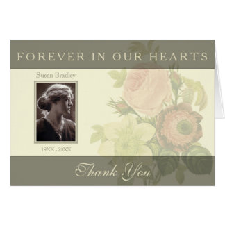 Vintage Bouquet with frame Sympathy Thank You N Note Card