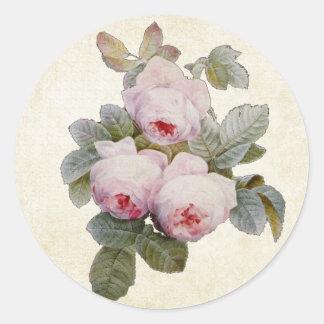 Vintage Bourbon Rose Envelope Seal Round Sticker