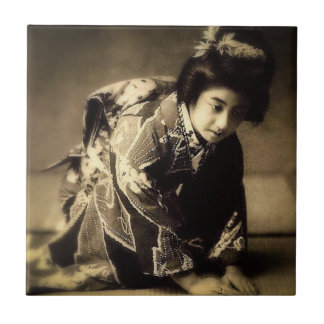 Vintage Bowing Geisha Sepia Toned お辞儀 Japanese Small Square Tile