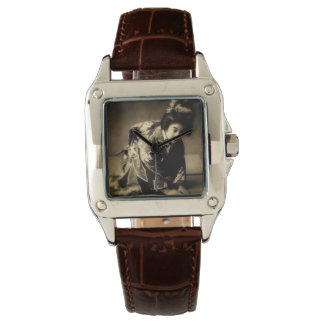 Vintage Bowing Geisha Sepia Toned お辞儀 Japanese Watch