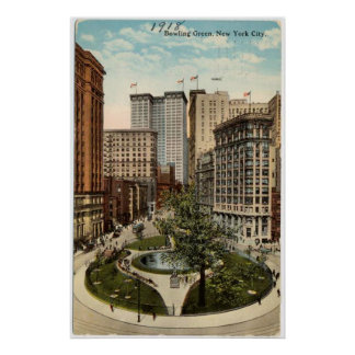 Vintage Bowling Green Park in NYC Artwork (1918) Poster
