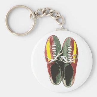 Vintage Bowling Shoes Retro Bowling Shoe Basic Round Button Key Ring