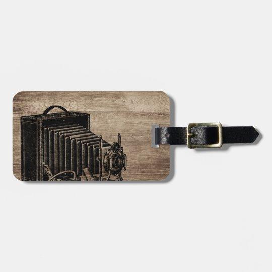 Vintage Box Camera Silhouette Luggage Tag