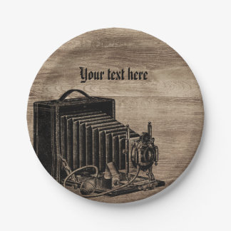 Vintage Box Camera Silhouette Paper Plates