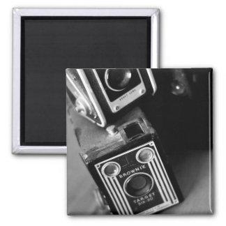 Vintage Box Cameras Square Magnet