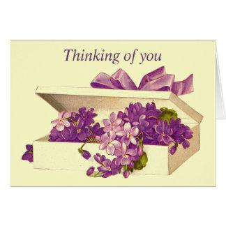 Vintage Box of Violets Greeting Card