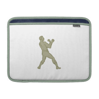 Vintage Boxer Fighting Stance Mono Line MacBook Sleeve