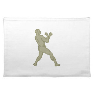 Vintage Boxer Fighting Stance Mono Line Placemats