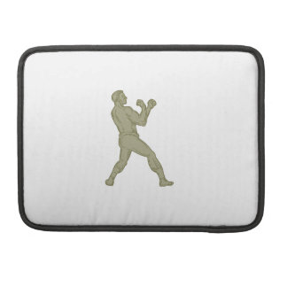 Vintage Boxer Fighting Stance Mono Line Sleeve For MacBooks