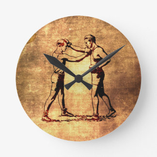 Vintage boxing men round clock