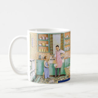 Vintage Boy and Dad in the Kitchen Mug